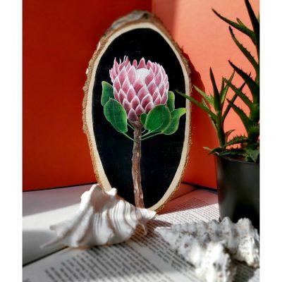 Protea – Abstraktné stavy / maľba na dreve