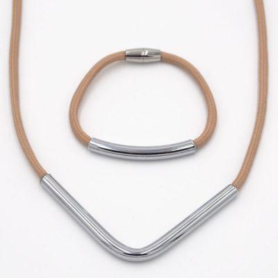 Rope béžový V / set náhrdelník a náramok