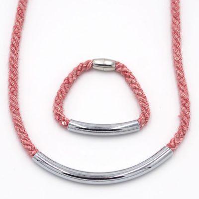Rope červený melír / set náhrdelník a náramok
