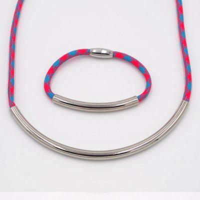 Rope ružovo modrý / set náhrdelník a náramok