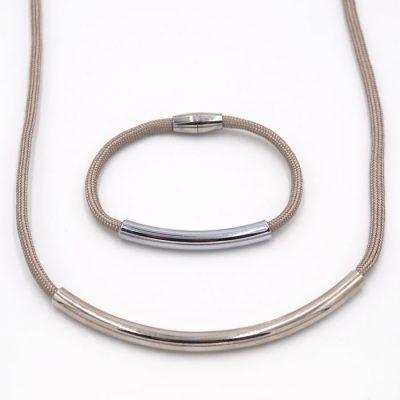 Rope sivý / set náhrdelník a náramok