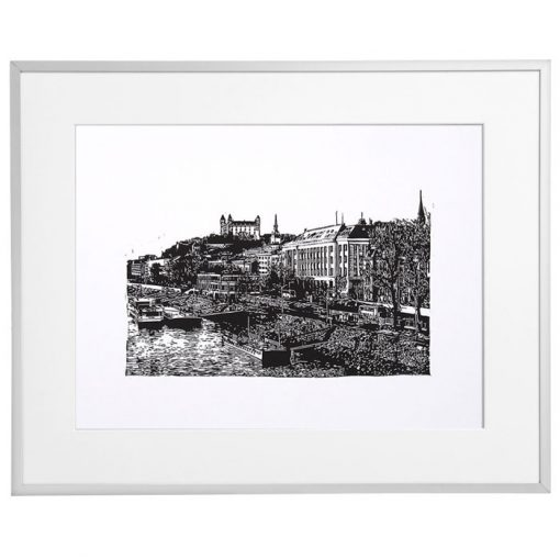 Bratislava panoráma - Tlatchene, 40 x 30 cm / linorytová grafika