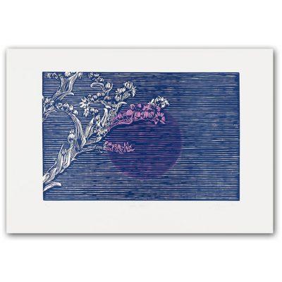 Pink sun II. - Martina Rötlingová linorytová grafika 30 x 42cm