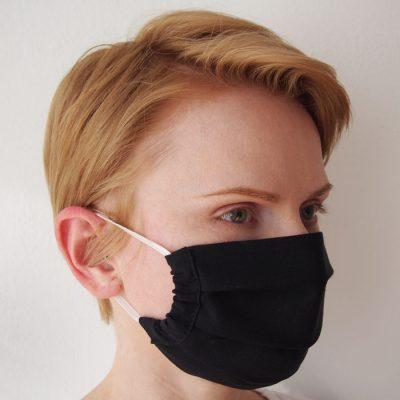 Čierne bavlnené rúško na tvár