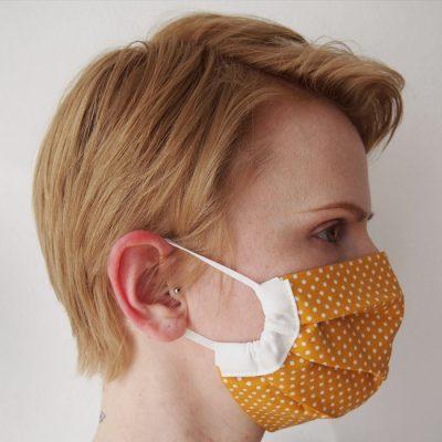 Žlté bodkované bavlnené rúško na tvár