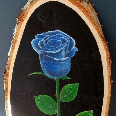Modrá ruža - Abstraktné stavy / maľba na dreve