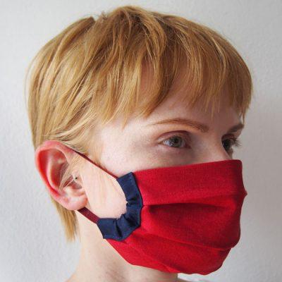 Červené bavlnené rúško na tvár