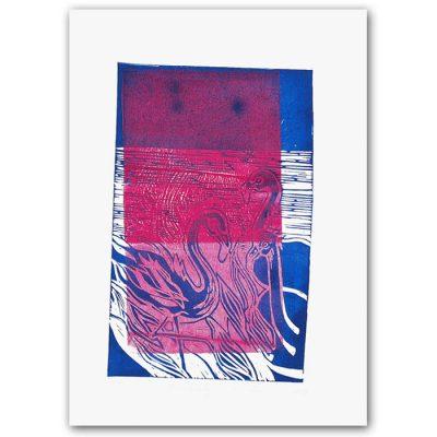 Petra Kováčová - Plameniaky, modro ružové / linoryt