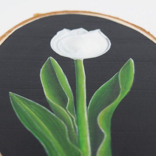 Biely tulipán - Abstraktné stavy / maľba na dreve