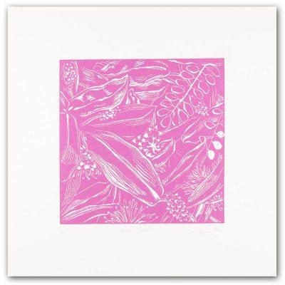 Balcony forest, ružový - Martina Rötlingová / linorytová grafika