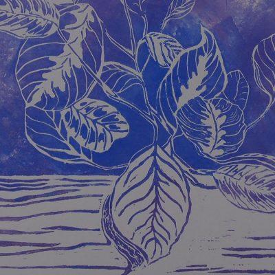 Petra Kováčová - Kalatea, fialová 50 x 40 cm / linoryt grafika