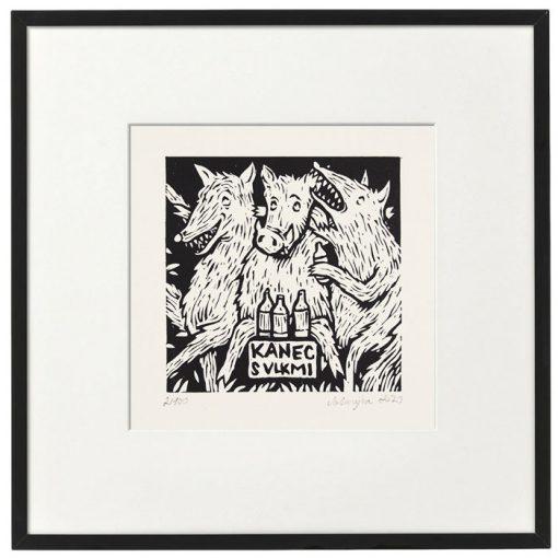 Kanec s vlkmi - Saturejka / linorytová grafika
