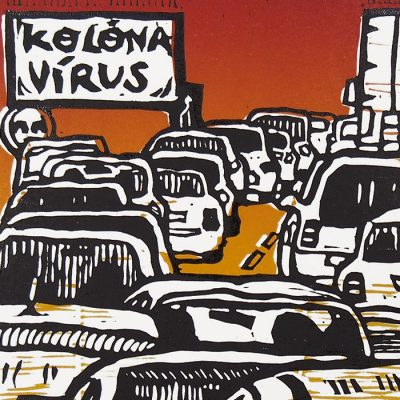 Kolóna vírus - Saturejka / linorytová grafika