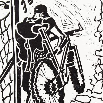 Chiara Némethová - Bike, 25x18 / linoryt grafika