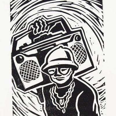 Chiara Némethová - Radio, 25x18 / linoryt grafika