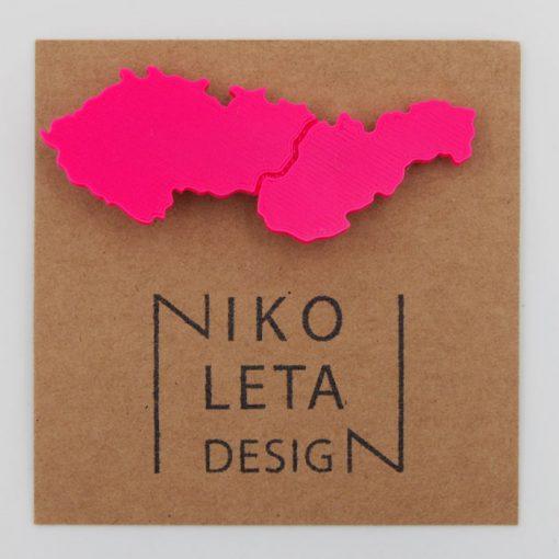 Czechoslovakia ružová - Nikoleta Design / brošňa