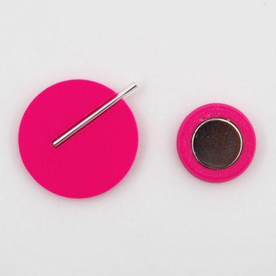 Kruh veľký, ružová - Nikoleta Design / brošňa s magnetom