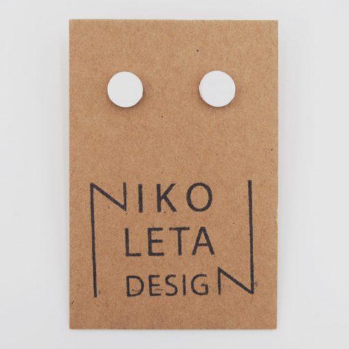 Bodky biele - Nikoleta Design / náušnice