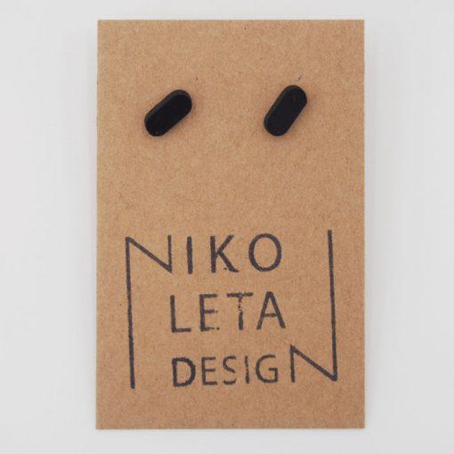 Čiarky malé čierne - Nikoleta Design / náušnice