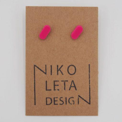 Čiarky malé ružové - Nikoleta Design / náušnice