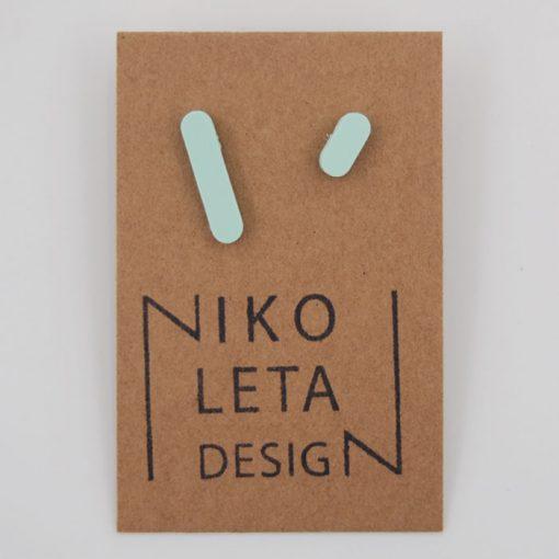 Čiarky veľká/malá mentol - Nikoleta Design / náušnice