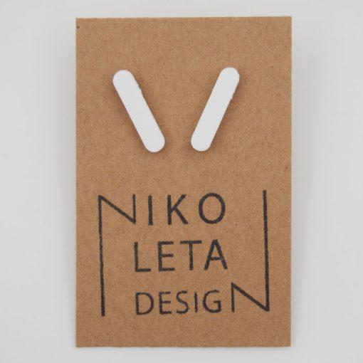 Čiarky veľké biele - Nikoleta Design / náušnice