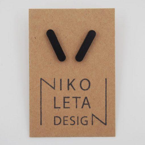 Čiarky veľké čierne - Nikoleta Design / náušnice