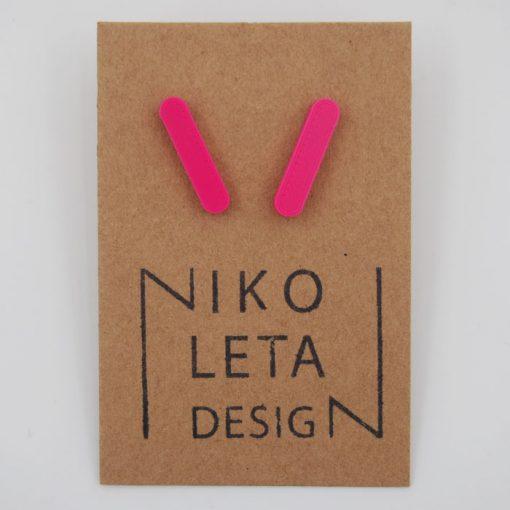 Čiarky veľké ružové - Nikoleta Design / náušnice