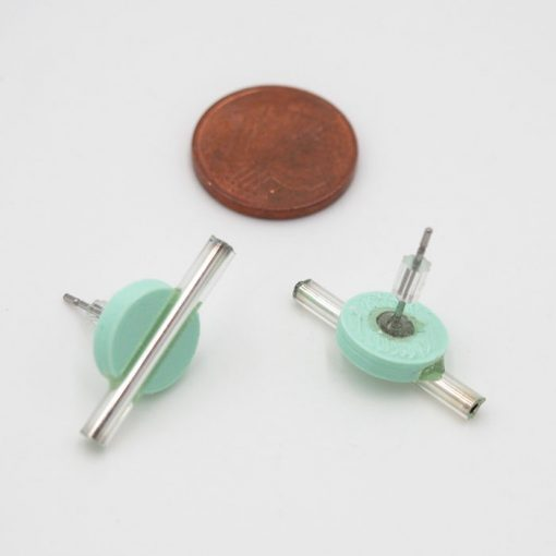 Kruh malý, mentol, strieb. - Nikoleta Design / náušnice