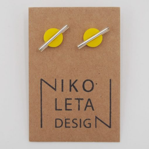 Kruh malý, žltý, strieb. - Nikoleta Design / náušnice