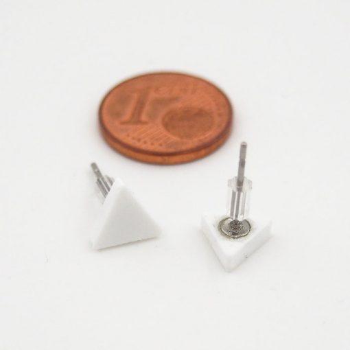 Trojuholníky biele - Nikoleta Design / náušnice