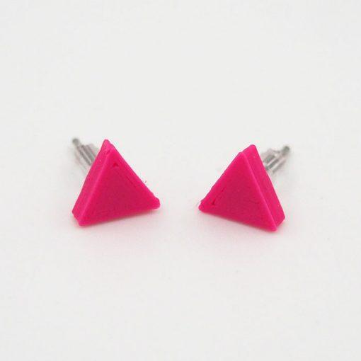 Trojuholníky ružové - Nikoleta Design / náušnice