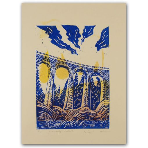Chmarošský viadukt, béžový #1 - Petra Kováčová / linorytová grafika