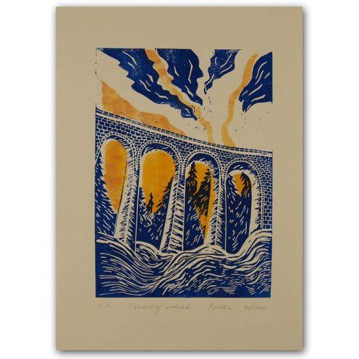 Chmarošský viadukt, béžový #2 - Petra Kováčová / linorytová grafika