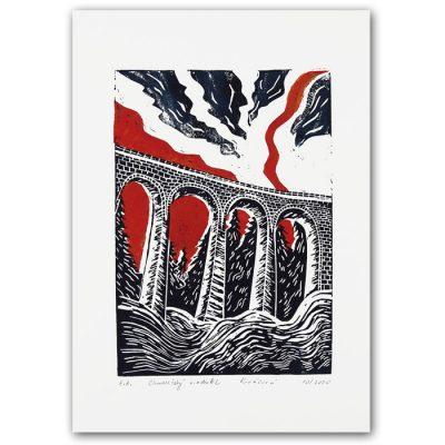 Chmarošský viadukt, biely #1 - Petra Kováčová / linorytová grafika