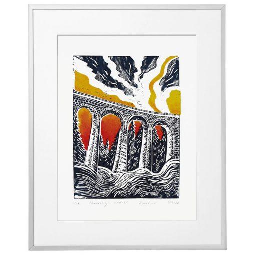 Chmarošský viadukt, biely #2 - Petra Kováčová / linorytová grafika
