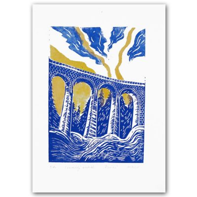 Chmarošský viadukt, biely #3 - Petra Kováčová / linorytová grafika