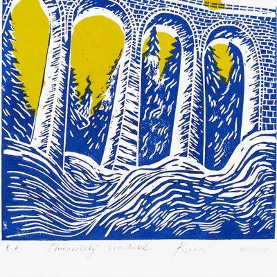 Chmarošský viadukt, malý biely #1 - Petra Kováčová / linorytová grafika