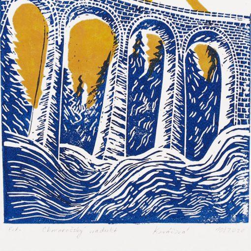 Chmarošský viadukt, malý biely #2 - Petra Kováčová / linorytová grafika