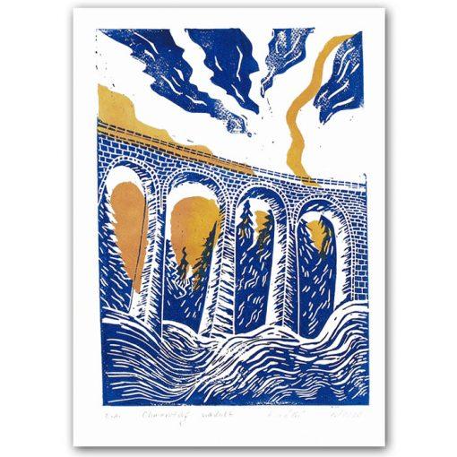Chmarošský viadukt, malý biely #3 - Petra Kováčová / linorytová grafika