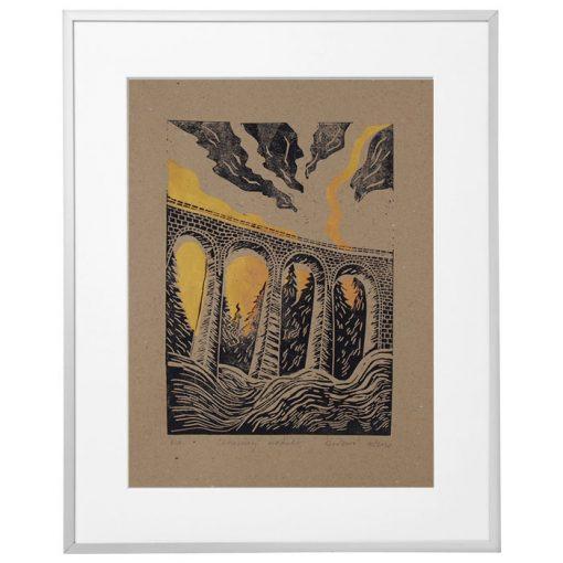 Chmarošský viadukt, hnedý #2 - Petra Kováčová / linorytová grafika