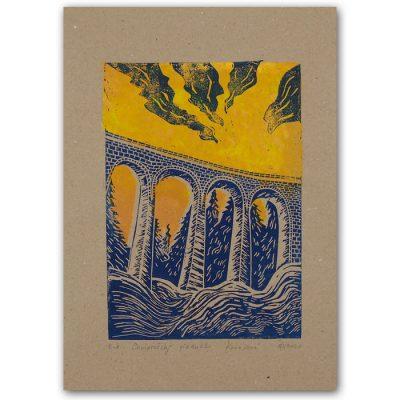 Chmarošský viadukt, hnedý #4 - Petra Kováčová / linorytová grafika