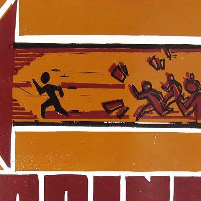 Šprint na 200m - Hugo Raýman, A2 / linoryt grafika
