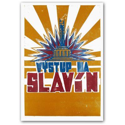 Výstup na Slavín - Tlačenka, A2 / linoryt grafika