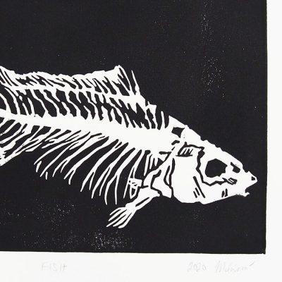 Zuzana Milánová - Fish, 21x15 / linoryt grafika