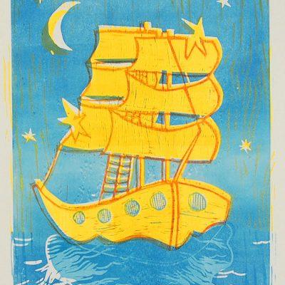 Plachetnica - Denisa Kollarova, 42 x 30 cm / linorytová grafika