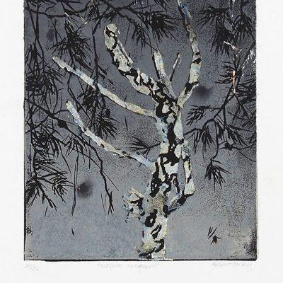 Bleskom zasiahnutý, biely - Helena Tóth / maľba v ráme