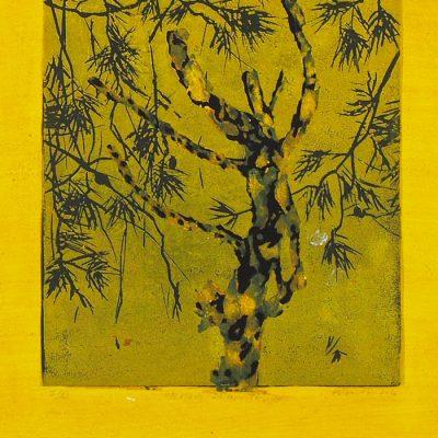 Bleskom zasiahnutý, žltý - Helena Tóth / maľba v ráme