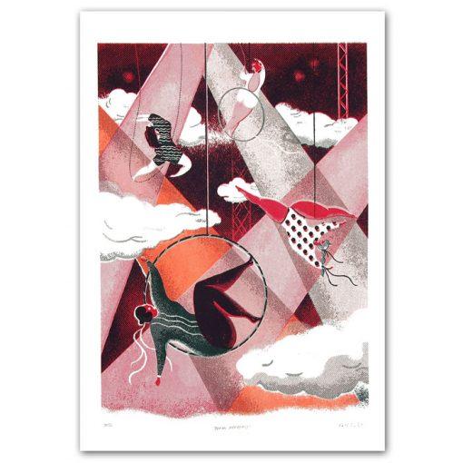 Aerial Acrobats biely - Lucia Žatkuliaková / risografika