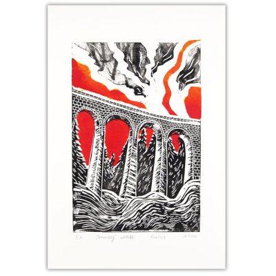 Chmarošský viadukt, biely #6 - Petra Kováčová / linorytová grafika